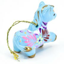 Handcrafted Painted Ceramic Blue Horse Country Farm Ornament Made Peru image 4