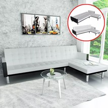 vidaXL L-shape Sofa Bed Black and White Artificial Leather Lounge Seating - $281.99