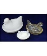 Glass Hen On Nest Milk GLASS Indiana Glass Co White Clear Mini Salt Cell... - $29.99