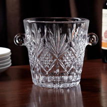 Crystal Glass Ice Bucket Wine Cooler Contemporary Champagne Chiller Wedd... - $39.19