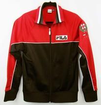 VTG 90's FILA Sport Men's S Italia Spell Out Track Jacket Full Zip Red B... - $31.39
