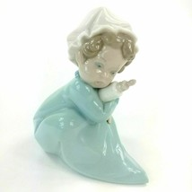 Lladro 1980 Holding the Bottle Porcelain Figurine Baby Blue PJ's & Cap M... - $49.45