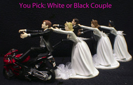 Wedding Cake Topper W/ RED Honda Motorcycle White Black Hispanic Groom t... - $59.28+