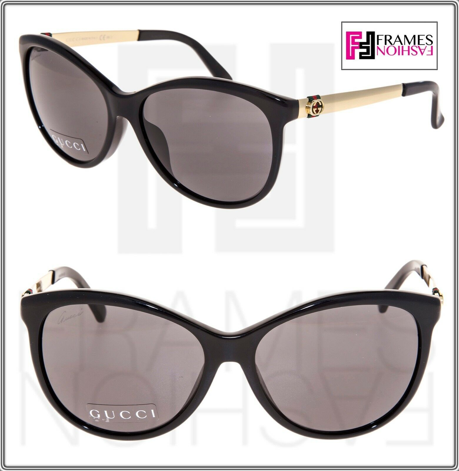f26b635cfbe9 S l1600. S l1600. Previous. GUCCI GG3797FS Gold Black Stripe Butterfly Asian  Fit Metal Sunglasses ...