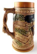 Ceramic German Beer Stein Made in Japan Men Drinking by a Barrel Man Cav... - $4.30