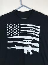 American Flag Guns 2nd Amendment Black XL T-Shirt Gun Rights Tee - $6.68