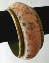 Vintage Wide Cuff Bangle Bracelet Bakelite Lucite Metal Clad - $74.24