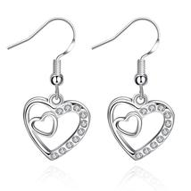 Platinum Plated Double Heart Dangle Earring with Crystal - $6.99