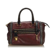 Pre-Loved Prada Red Bordeaux Others Leather Studded Craquele Satchel Italy - $635.86