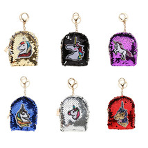 Sequins Unicorn Coin Purse Keychain Ring Key Holder Handbag Car Key Pendant - $9.22
