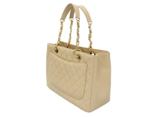 CHANEL Chain Tote Bag Caviar Leather Beige CC A50995 Italy Authentic 5343577