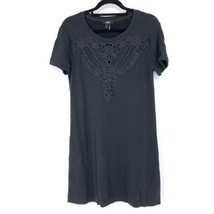 Paige Womens Size Small Pru Short Sleeve Embroidered T-Shirt Dress Black - $42.04