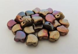 20 7.5 x 7.5 mm Czech Glass Matubo Ginkgo Leaf Beads: Matte - Metal. Bro... - $1.33