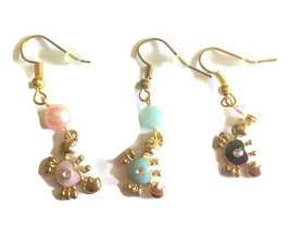 Crab Charm Earrings, Fishhooks, Beaded Earrings, Handmade, Nautical, SP - $10.00