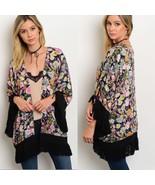 Black Floral Cardigan Kimono fringe Sz Small - $21.99