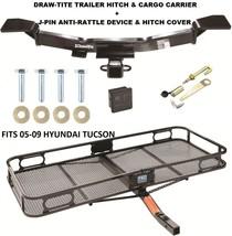 TRAILER HITCH + CARGO BASKET CARRIER + SILENT PIN LOCK FITS 05-09 HYUNDA... - $375.42