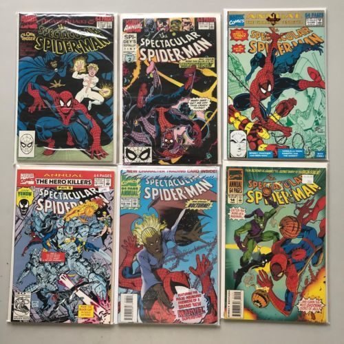 Lot of 6 Spectacular Spider-Man (1976 1st Series) Annual #9-14 VF Very Fine