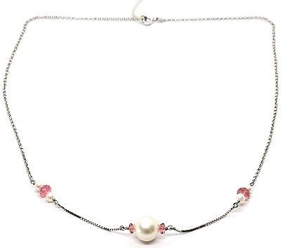 18K WHITE GOLD NECKLACE, WHITE PEARL, PINK TOURMALINE, ROLO & VENETIAN CHAIN