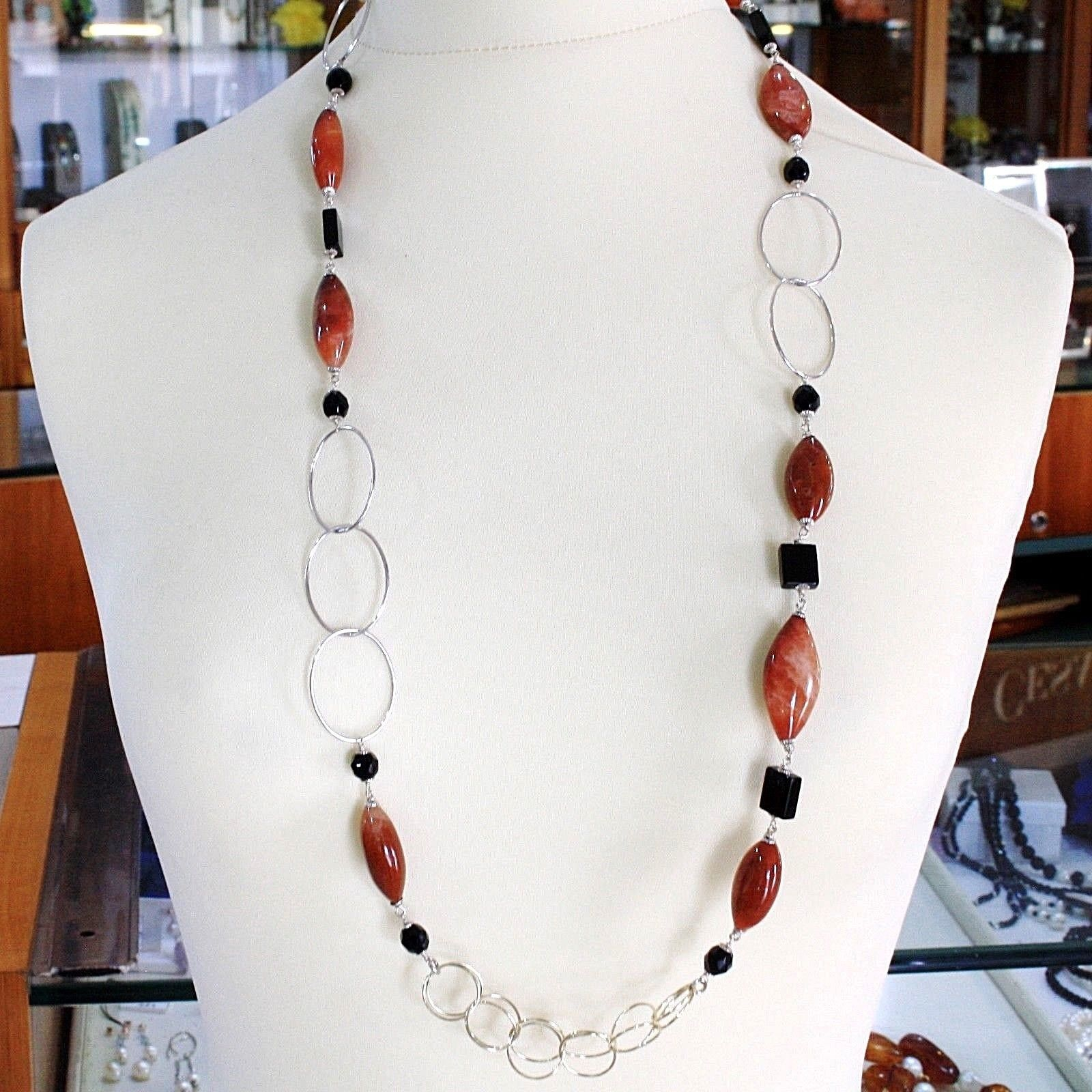 Silver necklace 925, Jasper Oval, Onyx, Length 90 CM, large circles