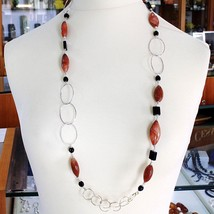 Silver necklace 925, Jasper Oval, Onyx, Length 90 CM, large circles image 1