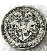 Best Hobo Nickel 1896 Dollar Skull Skeleton Anchor Sailor Carpe Diem Casted Coin - $9.49