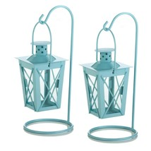 Small Lanterns Decorative, Blue Railroad Duo Glass Metal Small Hanging L... - $19.99