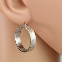 Sophisticated Tri-Color Silver, Gold & Rose Tone Hoop Earrings- United Elegance - $14.99