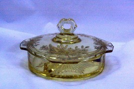 Paden City 1930 Ardith Yellow 3 Part Divided Lidded Candy Dish - $103.94