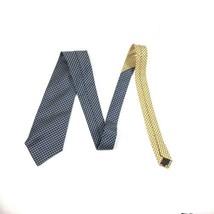 Tommy Hilfiger Vintage Neck Tie Blue & Gold Check Plaid 100% Silk Made i... - $19.19