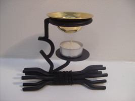 Wrought Iron Oil Burner w/ Tea Light Candle #In15 - $38.37 CAD