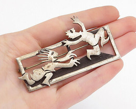 MEXICO 925 Sterling Silver - Vintage Woman Chasing Man Square Brooch Pin... - $74.91