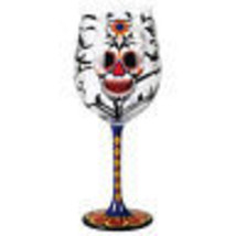Day of the Dead Blooming Flower Skull 15 oz Wine Glass Dia de los Muerto... - $23.21