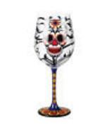 Day of the Dead Blooming Flower Skull 15 oz Wine Glass Dia de los Muerto... - $19.34