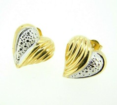 14k Yellow and White Gold Heart Stud Earrings (#J4441) - $46.75