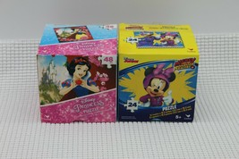 Lot of 2 New Puzzles-24 Pc. Minnie and the Roadster Racers-48 Pc. Snow W... - $11.87