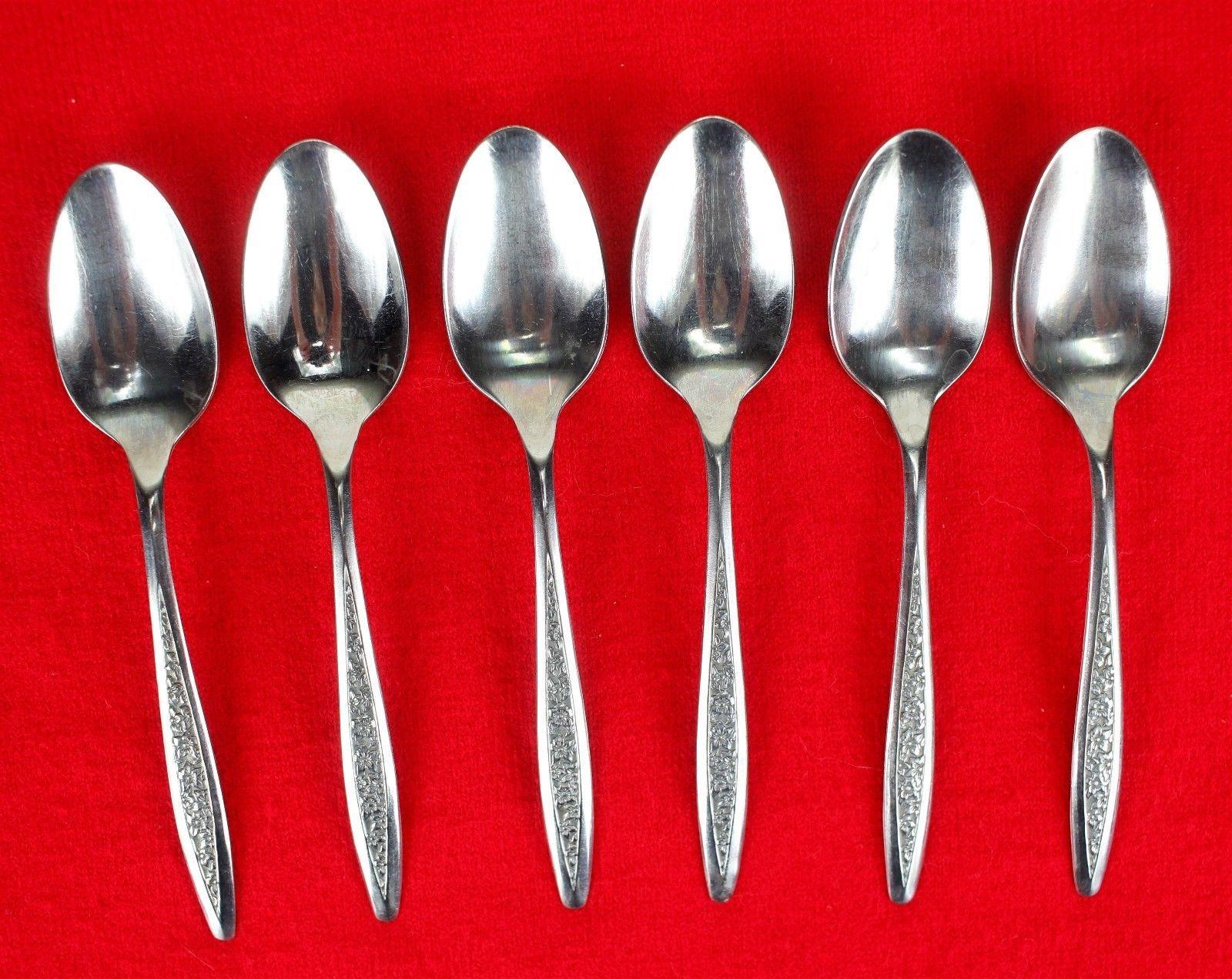 6X Teaspoons Superior International Silver Petal Lane Stainless Flatware Spoon