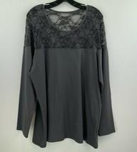 Torrid 4X Knit Top Gray Lace Long Sleeve Stretch Jersey Tunic Womens B36-05 - $31.90