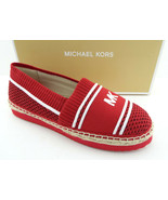 New MICHAEL KORS Size 7.5 RAYA Red Logo Espadrilles Flats Shoes 7 1/2 - $89.00