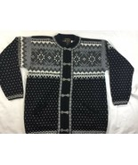 Norsk Wear Sweater Men L Nordic Wool Black Cardigan Metal Closure Norway - $46.74