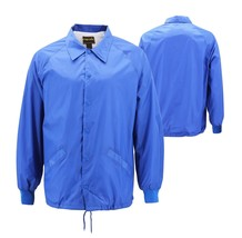 Men's Water Resistant Lightweight Lined Royal Blue Button Up Coach Jacket