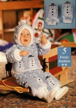 Z504 Crochet PATTERN ONLY Frosty Baby Hooded Sweater Pants Mittens Pattern - $7.50