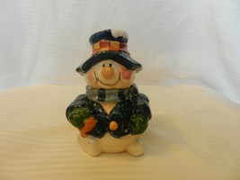 Ceramic Snowman Figurine With Blue & White Speckled Hat and Coat Figurine - $24.75