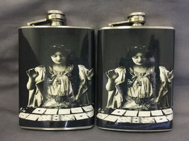Set of 2 Fortune Teller Gypsy Flasks 8oz Stainless Steel Drinking Whiskey - $11.05