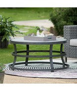 Modern Gray Round Faux Wood Metal Coffee Table Outdoor Patio Furniture Y... - $207.36