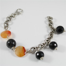 Bracelet in Sterling Silver 925 Rhodium with Orange Agate Disc and Black Onyx - $63.14