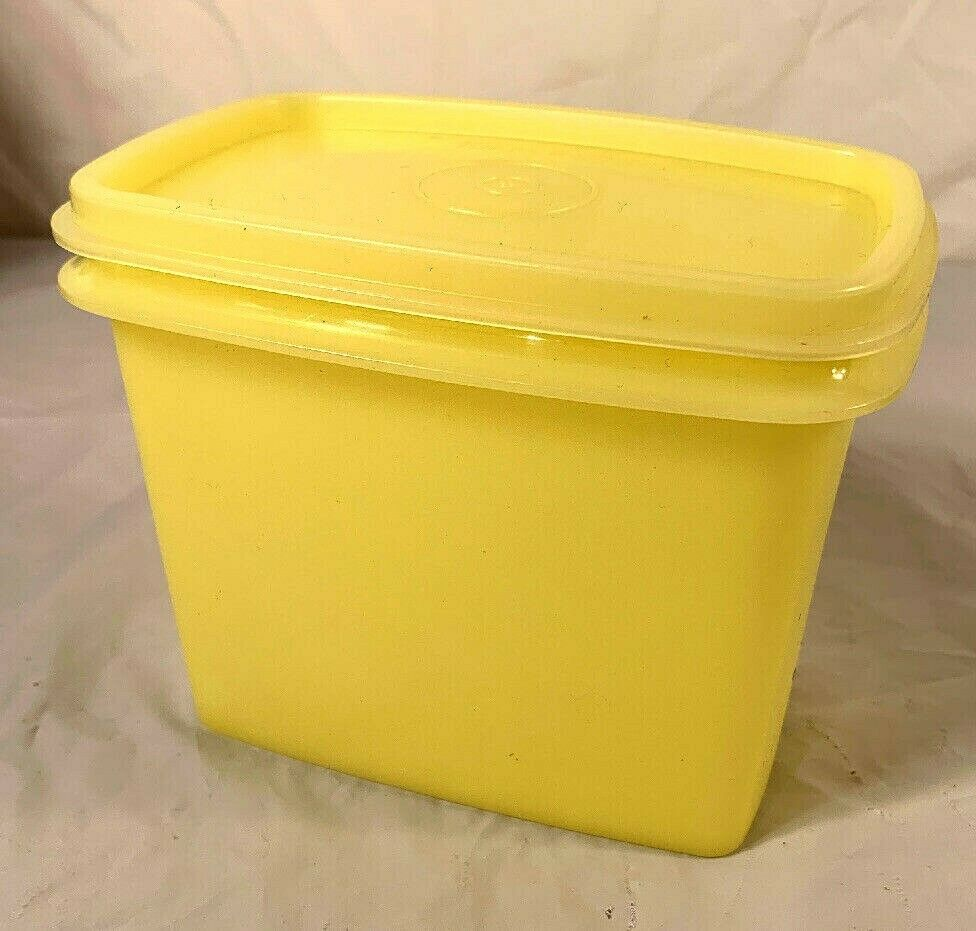 Primary image for Vintage...Tupperware...Rectangular Storage Lemon / Yellow 1243-8, w/ Lid 1244-7