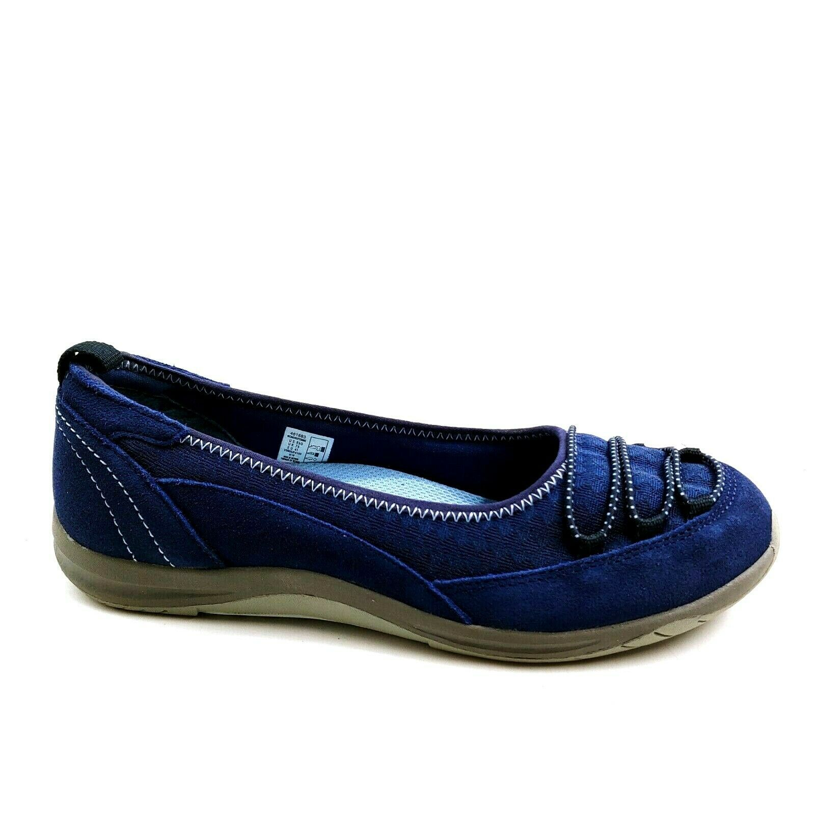 Lands End Womens Casual Bungee Ballet Flats Suede Mesh 461883 Deep Sea Blue 9.5D - $39.59
