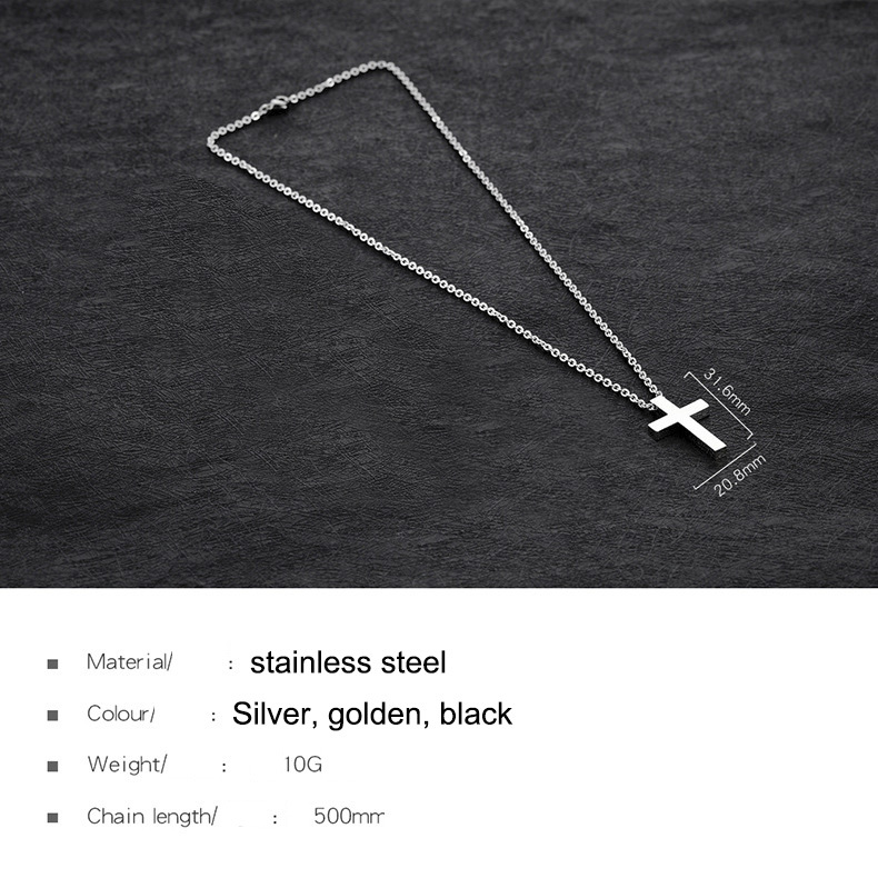 Stainless Steel Men Cross Necklace Long Chain Fashion Link Pendant Necklace