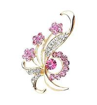 Fashion Crystal & Diamond Party Brooch Pin Clothes Accessories PINK
