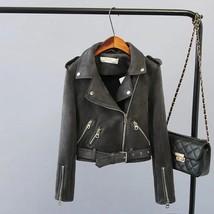New dark gray faux suede women motorcycle jacket grey biker belt spring summer - $58.00